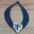 Leather and bone statement necklace, 'Posongo' - Ghanaian Blue Leather and Bone Statement Cord Necklace thumbail
