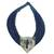 Leather and bone statement necklace, 'Posongo' - Ghanaian Blue Leather and Bone Statement Cord Necklace (image 2a) thumbail