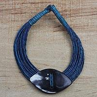 Leather and bone statement necklace, 'Masongo' - Ghanaian Blue Leather and Bone Statement Cord Necklace