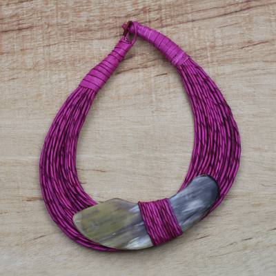 Horn pendant necklace, 'Zacsongo' - Boomerang Horn Pendant Magenta Leather Cord Necklace