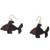 Ebony wood dangle earrings, 'Brown Fish' - Ebony Wood Fish Dangle Earrings from Ghana (image 2a) thumbail