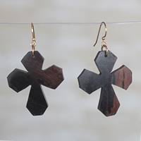 Ebony wood dangle earrings, 'Brown Crosses' - Ebony Wood Cross Dangle Earrings from Ghana
