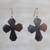 Ebony wood dangle earrings, 'Brown Crosses' - Ebony Wood Cross Dangle Earrings from Ghana thumbail