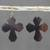Ebony wood dangle earrings, 'Brown Crosses' - Ebony Wood Cross Dangle Earrings from Ghana (image 2b) thumbail