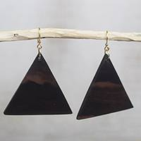Ebony wood dangle earrings, 'Triangle Sophistication' - Triangular Ebony Wood Dangle Earrings from Ghana