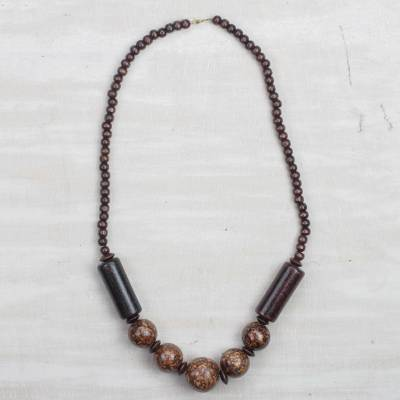 Wood beaded necklace, 'Coffee Beauty' - Brown Sese Wood Beaded Necklace from Ghana