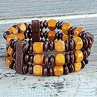 Wood beaded bracelet, 'Forest Beauty' - Beaded Natural Sese Wood Multi-Layered Stretch Bracelet