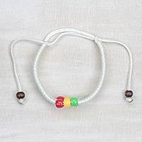 Braided cord bracelet, 'Colorful Joy' - White Braided Cord Bracelet with Plastic and Wood