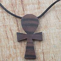 Ebony wood pendant necklace, 'Akuaba Pride' - Ebony Wood Cultural Pendant Necklace from Ghana