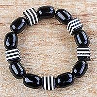 Recycled glass beaded stretch bracelet, 'Maame' - Black and White Recycled Beaded Glass Stretch Bracelet