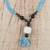 Horn and recycled glass beaded pendant necklace, 'Mother's Embrace' - Sky Blue and Black Beaded Glass Horn Pendant Necklace (image 2b) thumbail