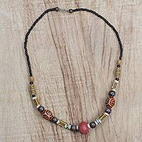 Recycled glass beaded necklace, 'Boho Adipa' - Recycled Glass Beaded Necklace Crafted in Ghana