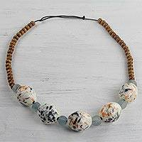 Wood and recycled glass beaded necklace, 'Wild Palette' - Handmade Multi-Colored Beaded Necklace from West Africa