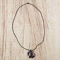Ebony wood pendant necklace, 'Gye Nyame Elegance' - Ebony Wood Gye Nyame Pendant Necklace from Ghana
