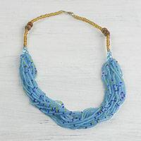 Glass beaded necklace, 'Sprightly Sky' - Recycled Glass Beaded Necklace in Sky Blue from Ghana