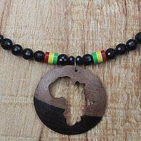 Ebony wood and recycled glass beaded pendant necklace, 'African World' - Ebony Wood and Recycled Glass Africa Necklace from Ghana