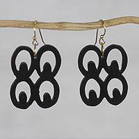 Ebony dangle earrings, 'Mate Masie' - Handmade Ebony Wood Adinkra Dangle Earrings from Ghana