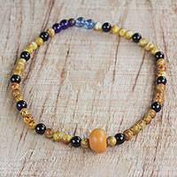 Recycled glass beaded necklace, 'Dynamic Palette' - Handmade Multicolored Recycled Glass Beaded Necklace