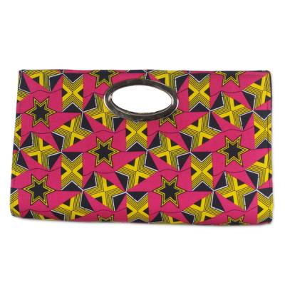 Handmade Pink and Yellow Star Cotton Clutch Bag from Ghana