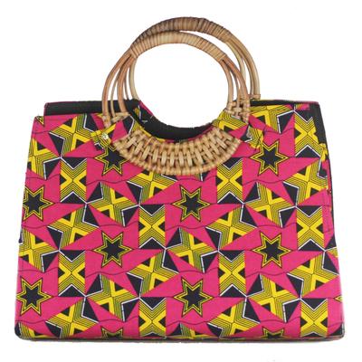 Handmade Ghanaian 100% Cotton Geometric Star Handle Handbag