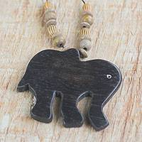 Wood pendant necklace, 'Wild Elephant' - Handmade Wood Beaded Pendant Elephant Necklace from Ghana