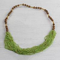 Glass and wood beaded necklace, 'Tasteful Lime' - Recycled Glass Beaded Necklace in Lime from Ghana