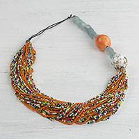 Recycled glass beaded necklace, 'African Pride' - Multicolored Recycled Glass Beaded Necklace from Ghana