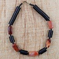 Agate beaded necklace, 'Dzine' - African Agate and Recycled Glass and Plastic Beaded Necklace