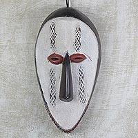 African wood mask, 'Meka Vo' - Hand Carved West African Alstonia Wood Wall Mask