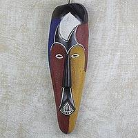 African wood mask, 'Ekemade' - Hand Carved West African Alstonia Wood Wall Mask