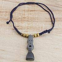 Wood pendant necklace, 'Sika Pa' - Grey and Black Wood Pendant Necklace on Adjustable Cord