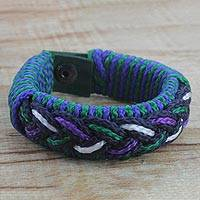 Men's wristband bracelet, 'Oceanic' - Men's Multi-Color Braided Cord Wristband Bracelet