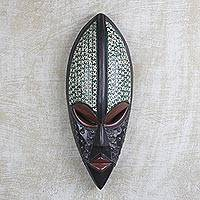 African wood and aluminum plate mask, 'Ghana Bold' - Hand Carved West African Wood and Aluminum Wall Mask