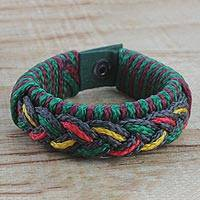Men's wristband bracelet, 'Adventurer' - Men's Multi-Color Braided Cord Wristband Bracelet