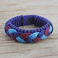 Men's wristband bracelet, 'Sky Hawks' - Men's Multi-Color Braided Cord Wristband Bracelet