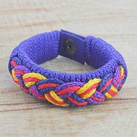 Men's wristband bracelet, 'Accord' - Men's Multi-Color Braided Cord Wristband Bracelet