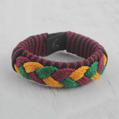 Men's wristband bracelet, 'Bravado' - Men's Multi-Color Braided Cord Wristband Bracelet