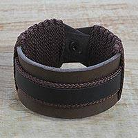 Men's leather wristband bracelet, 'Abotari' - Men's Brown and Black Leather Wristband Bracelet