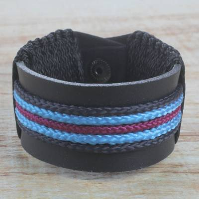 Men's leather wristband bracelet, 'Bediako in Black' - Men's Black Leather Multi-Colored Cord Wristband Bracelet