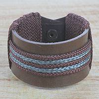 Men's leather wristband bracelet, 'Bediako in Brown' - Men's Brown Leather and Cord Wristband Bracelet