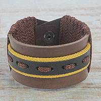 Men's leather wristband bracelet, 'Ray of Strength' - Men's Brown and Black Leather Wristband Bracelet