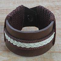 Men's leather wristband bracelet, 'Fraternal Love' - Men's Brown Leather with Braided Cord Wristband Bracelet