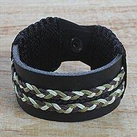 Men's leather wristband bracelet, 'Double Take in Black' - Men's Black Leather Wristband Bracelet with Braided Cord