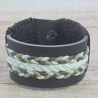 Men's leather wristband bracelet, 'Double Take in Cream' - Men's Black Leather Wristband Bracelet with Braided Cord