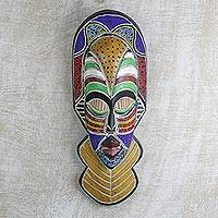 African wood and recycled glass beaded mask, 'Sinethemba' - Sese Wood and Recycled Glass Beaded Wall Mask from Ghana