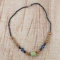 Recycled glass and plastic beaded necklace, 'Forest Clearing' - Recycled Plastic Glass and Sese Wood Beaded Necklace