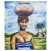 'Asaana' - Signed Cultural Painting of a Woman from Ghana