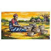 'Basket Weaver' - Signed Expressionist Painting of a Basket Weaver from Ghana