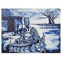 'Xylophone Player' - Signed Painting of a Xylophone Player from Ghana