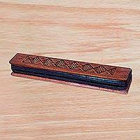Wood oware game, 'Diamond Oware' - African Sese Wood Diamond Motif Oware Board Game from Ghana